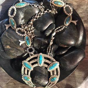 Vintage Faux TurquoiseSilver Squash Blossom Neckl